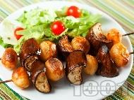 Рецепта Шишчета с пресни картофи и патладжани печени на фурна